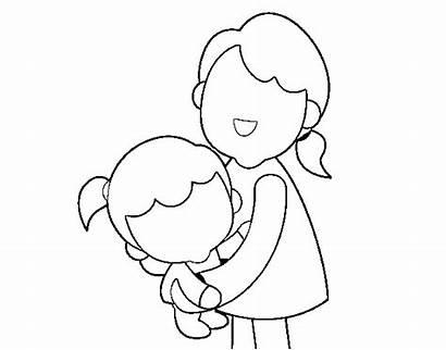 Hug Coloring Mom Coloringcrew