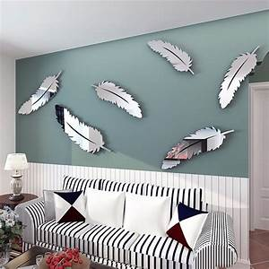 Bedroom mirror wall decor : Aliexpress buy removable diy silver feather d