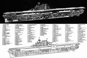 Aircraft Carrier Wwii Cutaway Drawing