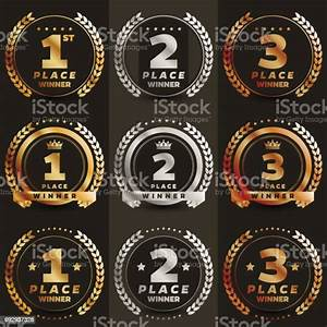 1st, 2nd, 3rd, Place, Gold, Icons, Stock, Illustration