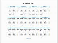 Weeknummers 2019