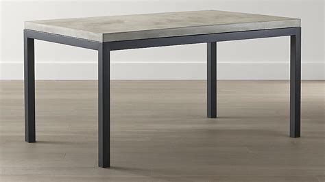 crate and barrel parsons table concrete top natural dark steel base parsons dining