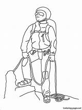Coloring Mountaineer Printable Climber Alpinist Profession Occupation Fans sketch template