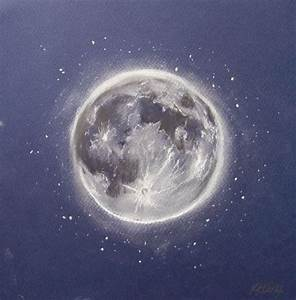 "Full Moon Pastel Drawing Original 9 x 9"" on Pastel Paper ..."