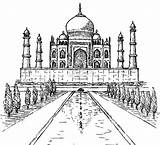 Taj Mahal India Coloring Agra Netart Sketch Pages Drawing Places Sketches Activities Drawings Site sketch template