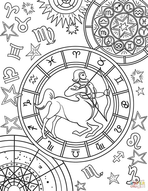 sagittarius zodiac sign coloring page  printable