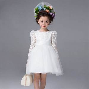 baby wedding dress autumn girls white big bow lace dresses With wedding dress for kid girl
