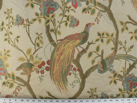 drapery upholstery fabric birds and berries embroidered - Bird Drapery Fabric