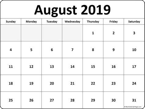 august blank calendar collection