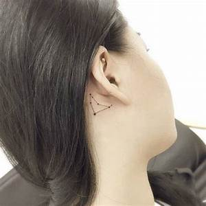 Little capricornus constellation tattoo behind the ear ...
