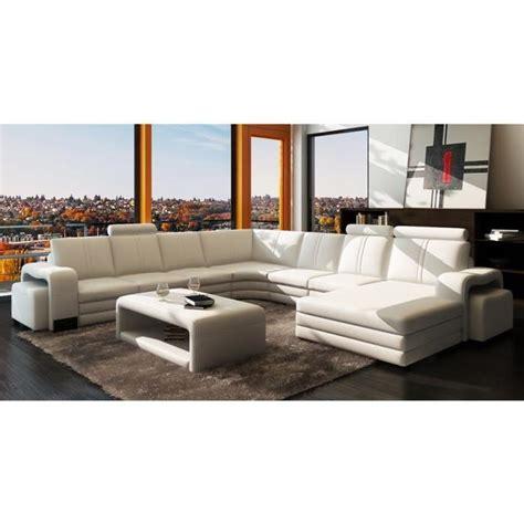 canapé convertible largeur canapé d 39 angle panoramique cuir blanc 10 places ha achat