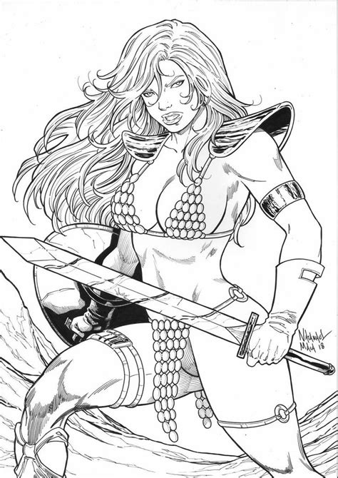 Red Sonja by Natanael Maia | Red sonja, Sketches, Humanoid