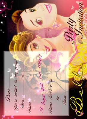 beauty   beast belle  printable party invitation