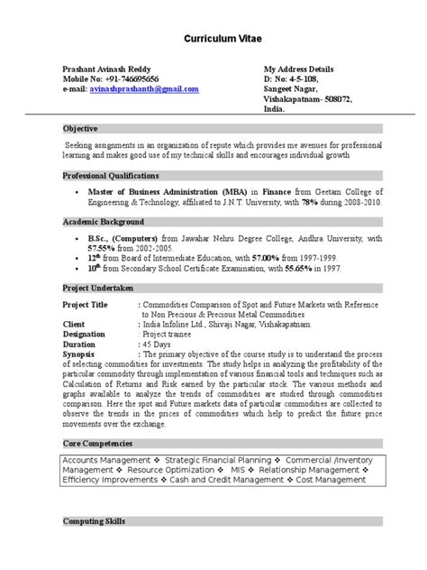 Fresher Finance Resume Format - 4 | Economics | Technology