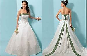 The gallery for gt emerald green and white wedding dress for Green and white wedding dress