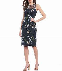 Papell Floral Embroidered Sheath Dress Dillard 39 S