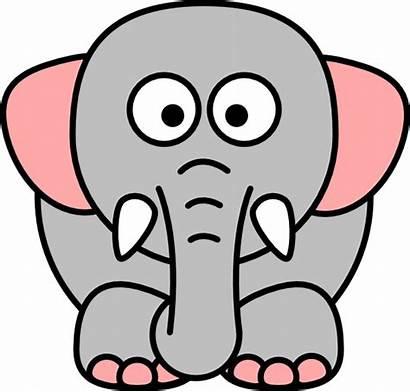 Cartoon Elephant Grey Pink Elephants Animated Clip