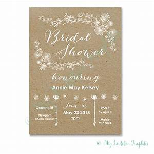 Diy bridal shower invitation whimsical rustic bridal for Wedding shower templates