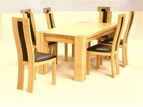 solid wooden rectangle dining table and 6 chairs homegenies
