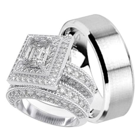 his and hers matching trio wedding engagement ring set