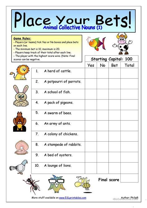 collective nouns for grade 4 noun quiz worksheet