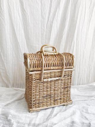 vintage cane picnic basket  hand furniture basket