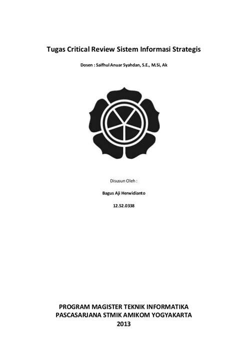 Tugas critical review sistem informasi strategis