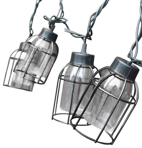 vintage style cage string lights 10 count industrial