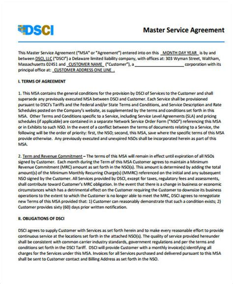 master service agreement template 40 free sle agreements sle templates