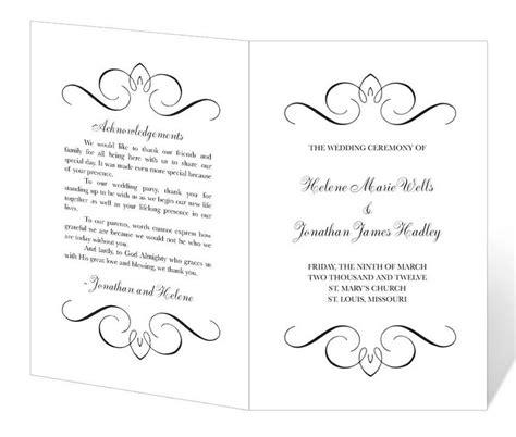 wedding program template printable instant