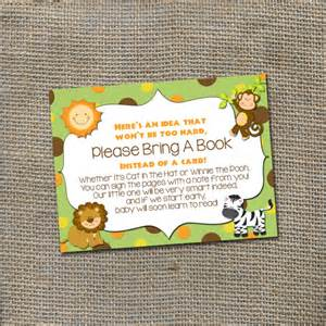 instead of a card bring a book jungle safari baby shower theme bring a by