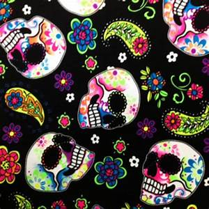 Stretch Fabric Neon Sugar Skull Print Fabric By the Yard