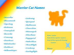 cat names for warrior cat names open adoptables by kitty luvs on