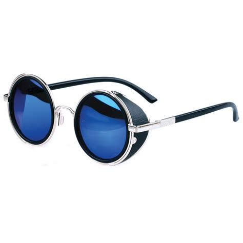 blue glasses steunk sunglasses silver blue semi mirrored lenses side shields