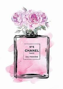 Coco Chanel Bilder : coco chanel no5 print in pink flowers roses by hellomrmoon chanel ~ Cokemachineaccidents.com Haus und Dekorationen