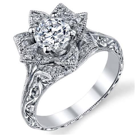 Hand Engraved 8 Petal 58 Ct Diamond Lotus Flower Ring