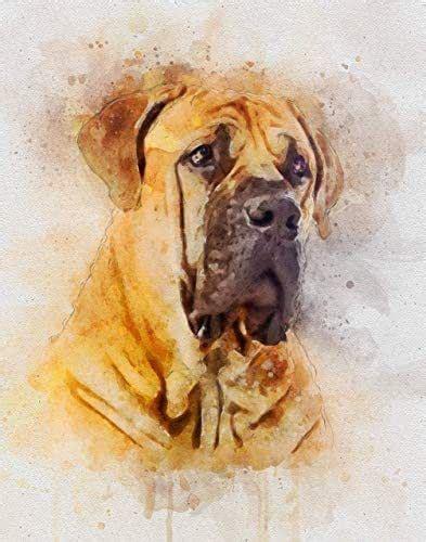 amazoncom english mastiff dog watercolor art print