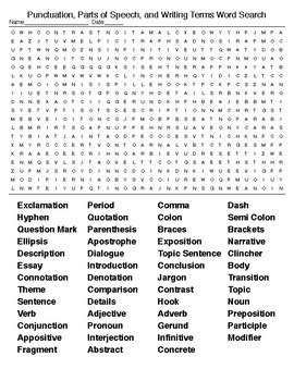 punctuation parts of speech and writing terms crossword word search