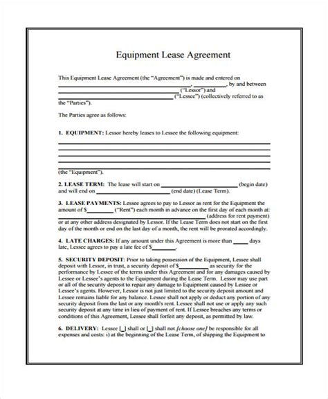 sample lease agreement forms   word