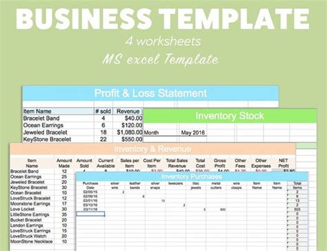 business excel template profit loss inventory expense