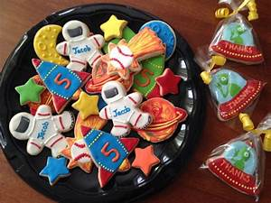 Space themed sugar cookies with royal icing. Spaceman ...