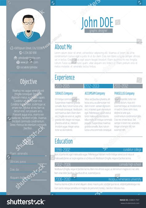 modern resume curriculum vitae cv design stock vector