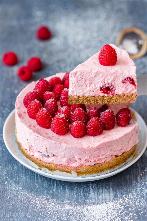 Raspberry cheesecake bars are so rich, while the raspberry adds a light, sweet flavor profile. No Bake Raspberry Cheesecake Recipe - Happy Foods Tube