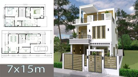 House Plans 7x15m with 3 Bedrooms Планы небольших домов