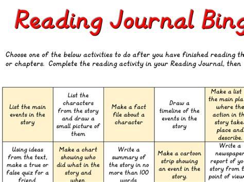 reading journal bingo sheet yr 5 yr6 by justteachuk teaching resources