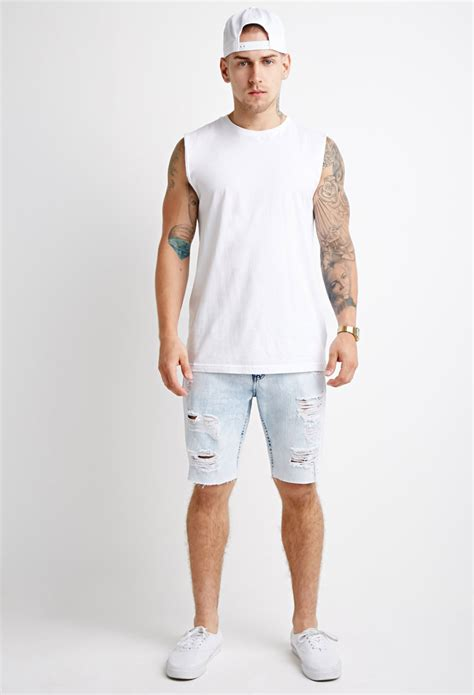 light jeans mens lyst forever 21 distressed bleach wash denim shorts in
