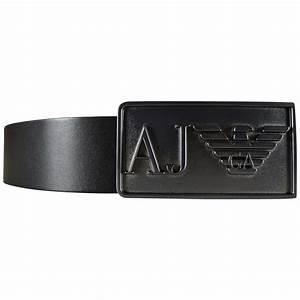 EMPORIO ARMANI Armani Jeans Black Buckle Logo Belt - Men ...