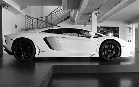 white, Cars, Lamborghini, Lamborghini, Aventador, Side ...