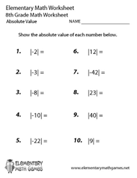 8 Best Images Of Absolute Value Worksheets 6th Grade Answers  Absolute Value Math Worksheets