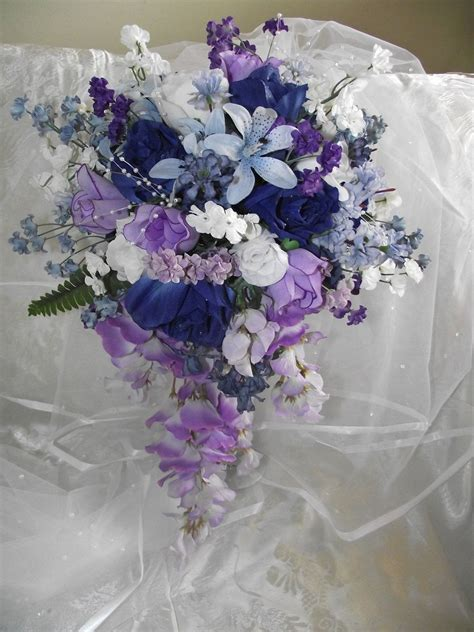 Cascade Dark Blue And Purple Wedding Bouquet By